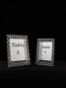 Crystal Frames for Photos and Table Numbers for Centerpieces for Weddings and Events for Rental